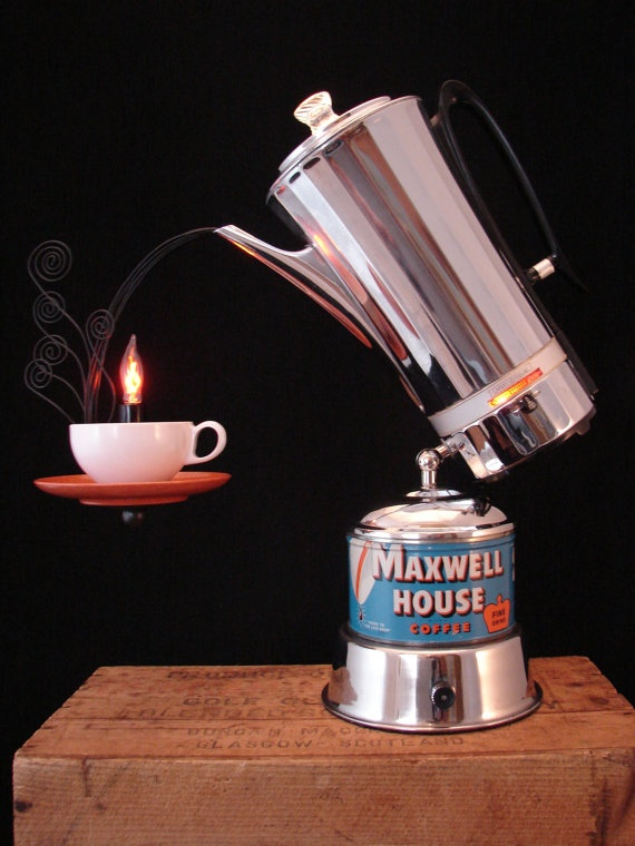 Upcycled Vintage Percolator Lamp with Old Coffee by BenclifDesigns, $290.00