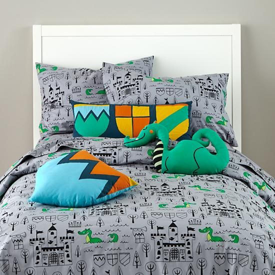 Medieval castle and dragons sheets and pillows from The Land of Nod