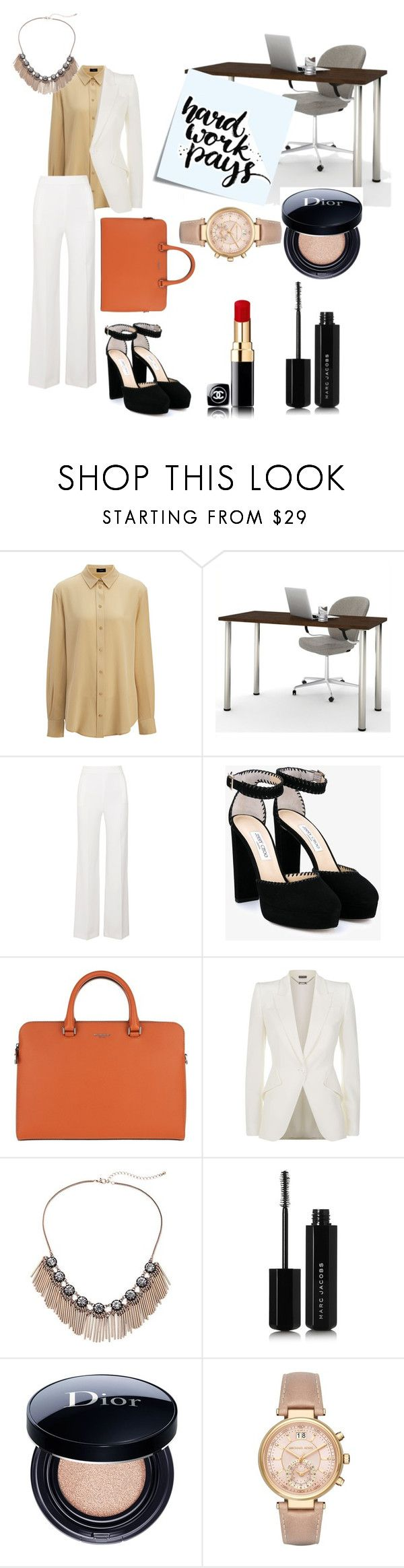it's time to work by feliciamia on Polyvore featuring Joseph, Alexander McQueen, Roland Mouret, Jimmy Choo, MICHAEL Michael Kors, Michael Kors, Christian Dior, Marc Jacobs, Bestar and Post-It