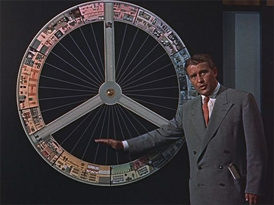 Wernher von Braun discusses space station photo credit Walt Disney Productions Man and the Moon posted on SpaceFlight Insider
