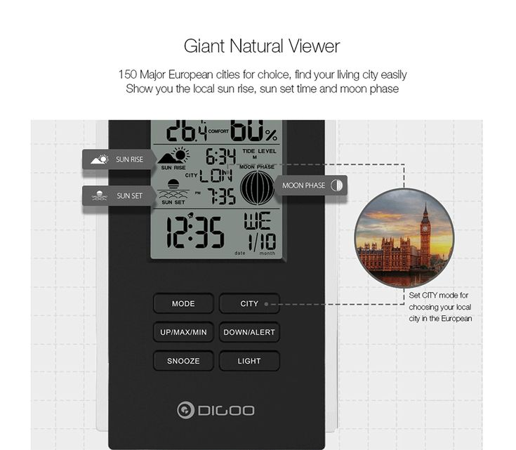 Digoo DG-TH6699 Wireless Weather Station Barometer Forecast Thermometer USB Outdoor Sensor Clock