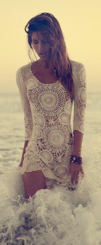 Vintage 1970s crocheted lace three quarter sleeve bohemian beach wedding dress photo shoot inspiration