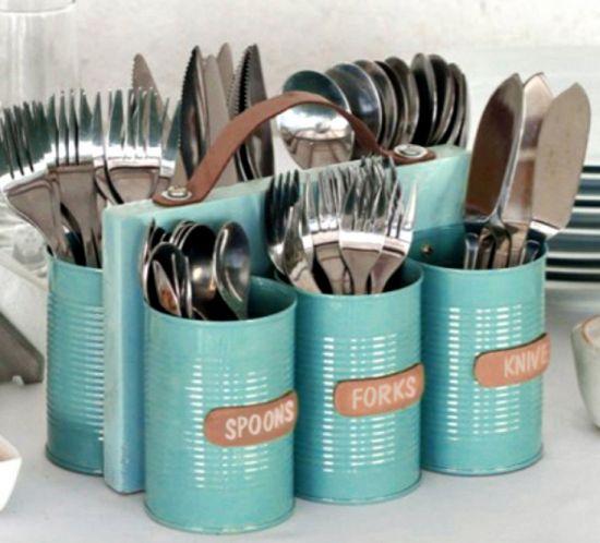 Tin Can Cutlery Caddy