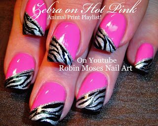 "Robin Moses Nail Art: Hot Pink Nails with Black and Silver Zebra Animal print Nails! ""zebra print nail art"" ""zebra print"" ""hot pink zebra"" ""black and silver zebra"" ""zebra nails"""