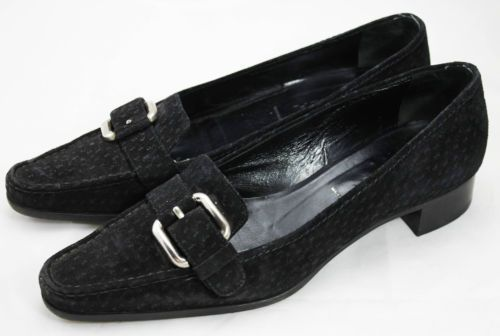 PRADA-Scarpe-Mocassini-Classici-Camoscio-Nero-Donna-Suede-Flats-Loafers-Shoes-37