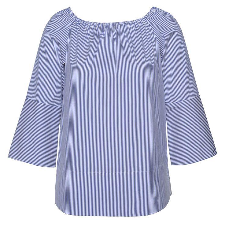 ST. EMILE  Schulterfreie Bluse 'Abby'  ► Die Bluse ABBY von ST.EMILE ist aus einem leichten Baumwollmix hergestellt und unterstreicht durch ihre schulterfreie Passform den sommerlichen Flair. Mit einem Streifenmustermix und leicht ausgestellten Ärmeln kann sie wunderschön zu einer Hose und Sandaletten kombinierte werden.
