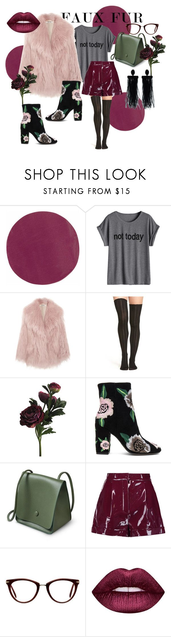 """fauxx"" by nover on Polyvore featuring Kevyn Aucoin, Miu Miu, Urban Outfitters, Rebecca Minkoff, Valentino, GlassesUSA, Lime Crime and Oscar de la Renta"
