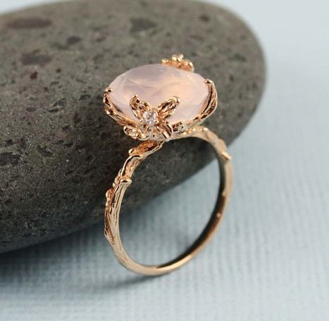 pretty pink crystal ring edged with tiny leaves...pinned by ♥ wootandhammy.com, thoughtful jewelry.