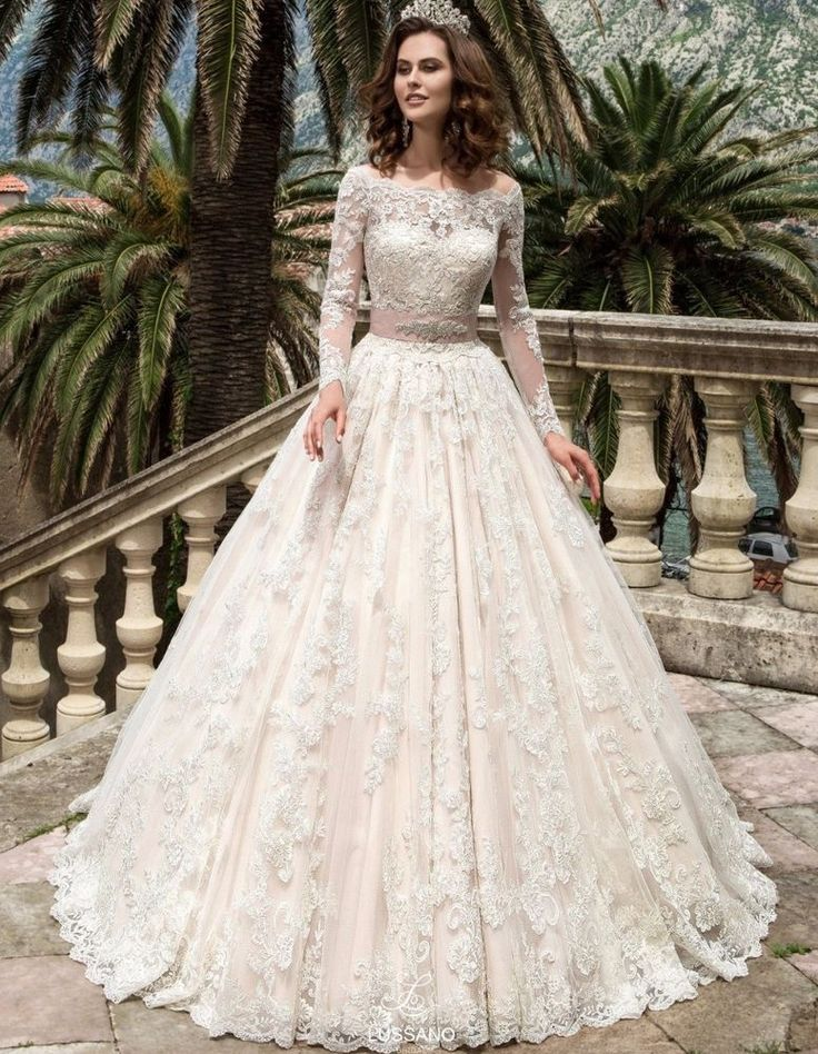 Princess Lace Wedding Dress Long Sleeve Romantic Bridal Gown Vestido De Noiva