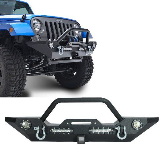 E-Autogrilles 07-15 Jeep Wrangler JK Heavy Duty Rock Crawler Front Bumper With LED Lights with Receiver (51-0353)