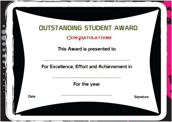 Outstanding Student Of The Year Award Certificates Certificate Templates