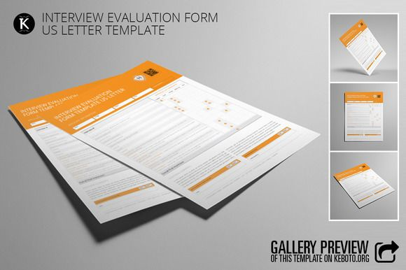 Interview Evaluation Form US Letter by Keboto on @creativemarket - interview evaluation form