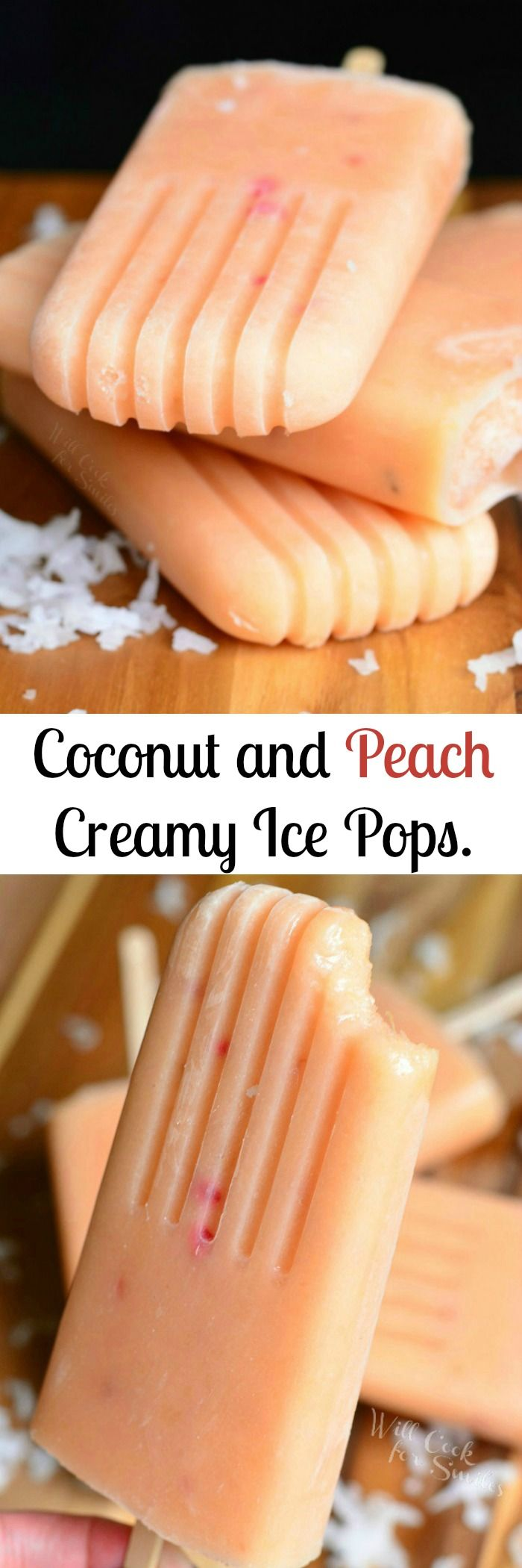 Coconut and Peach Creamy Fruit Ice Pops. Sweet, aromatic, ice pops that are simple to make are packed with peaches, honey, and coconut