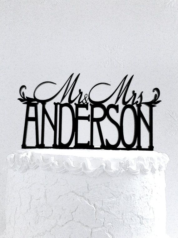 Mr and Mrs Anderson Wedding Cake Topper Personalized with