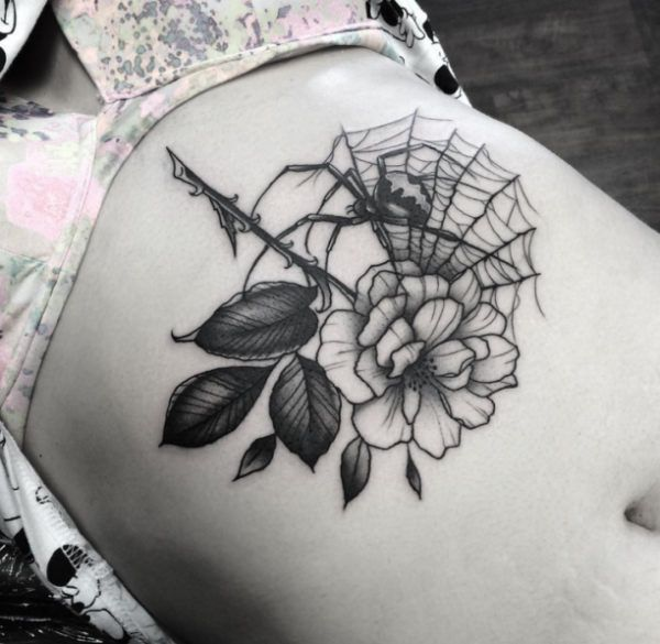 Tattoo Spider Flower, Spider Web  - http://tattootodesign.com/tattoo-spider-flower-spider-web/  |  #Tattoo, #Tattooed, #Tattoos