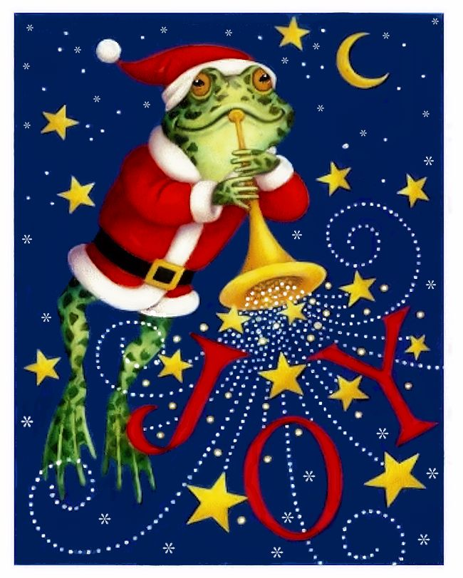 Frog In Santa Suit Blowing Horn By Artist Stephanie