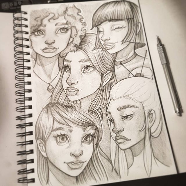 Drawings from yesterday's comparison :-) #drawing #sketchbook #art #instaart #artofinstagram #portrait #face