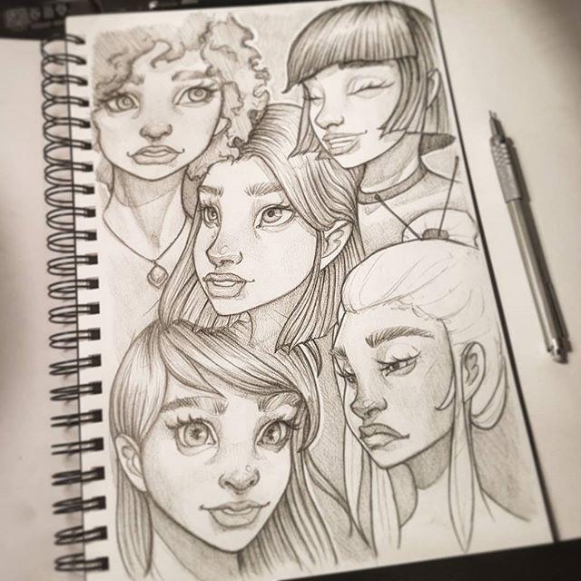 Drawings from yesterday's comparison :-) #drawing #sketchbook #art #instaart #artofinstagram #portrait #face