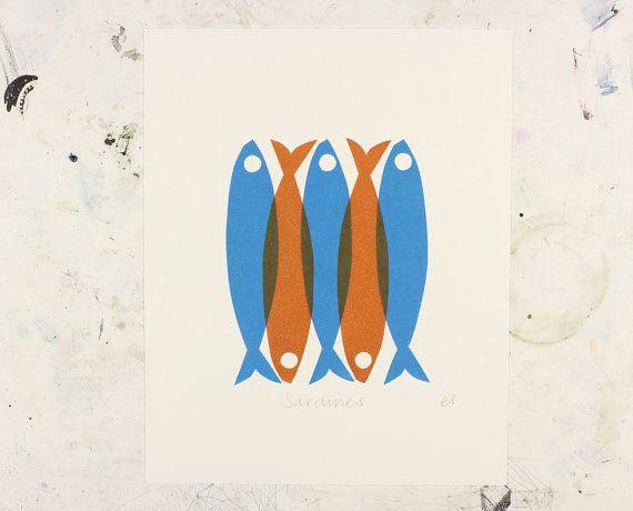 Scandinavian style Sardine Linocut print in by WorkOnPaperStudio