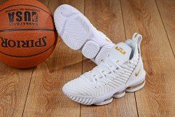 fa58b88b2fb Creative Nike LeBron 16 White Gold Men s Basketball Shoes James Trainers
