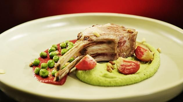 Lamb Rack with Peas and Beets