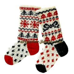 вязаные носки, узор норвежский жаккард