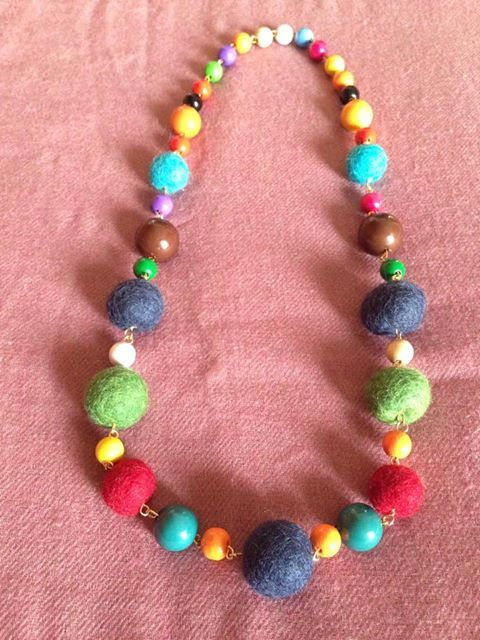 Colorful necklace with felted and wooden balls