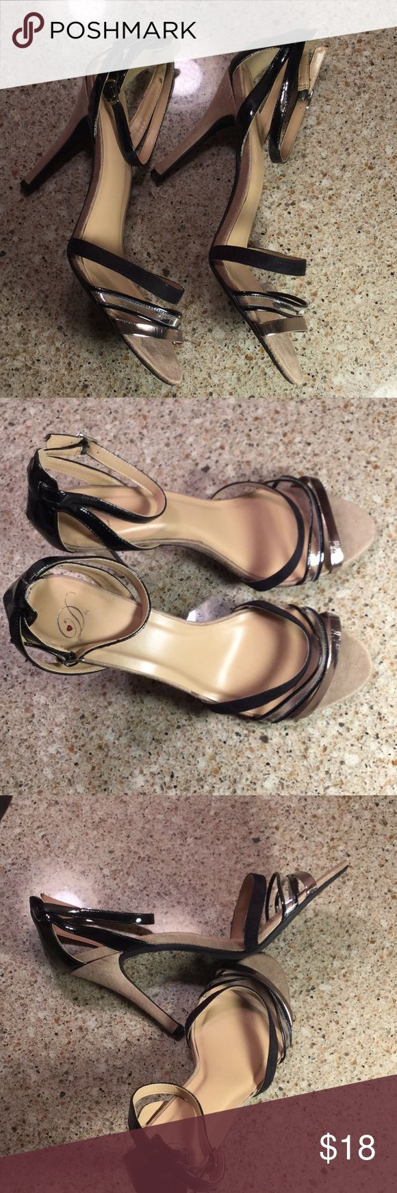 Strapped Heels Black and metallic brown scrappy heels size 12 with a 4.5' heel.  EUC.  Reasonable offers accepted bundle and save Shoes Heels