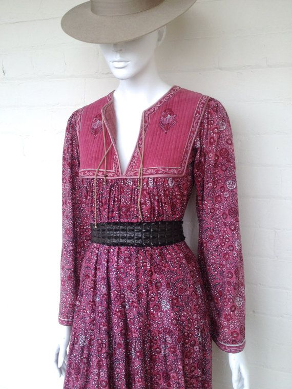 Vintage 70's Indian Dress Boho Cotton Gauze Ethnic by BedouinCo