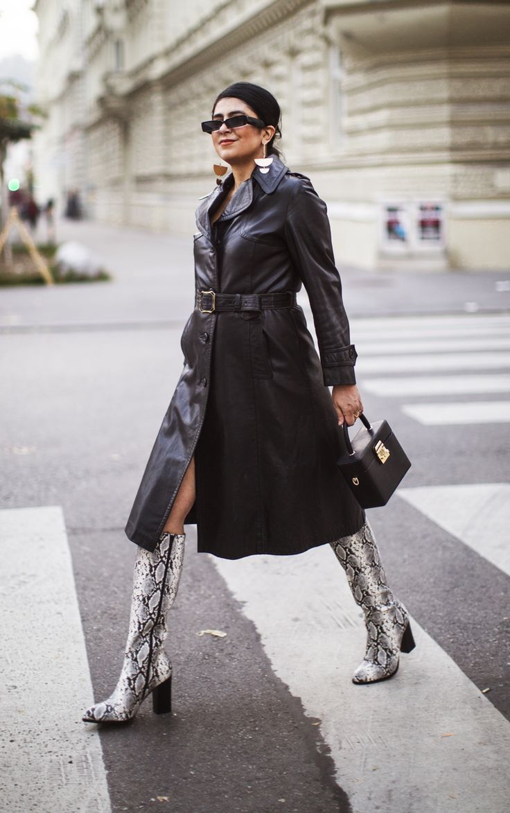 Leather Trench Coat Outfit Fashion