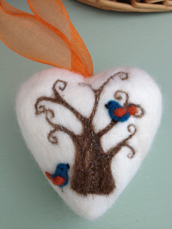 Felted Heart featuring Tree and Birds by MarshmallowMoonCraft