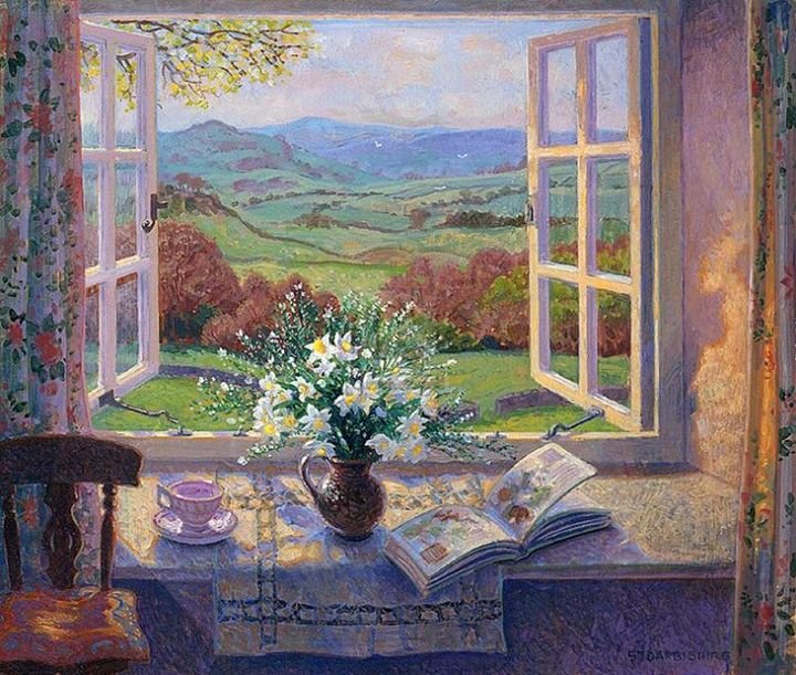 Stephen Darbishire 1940   British Interiors and Landscape painter   Welcome in Spring