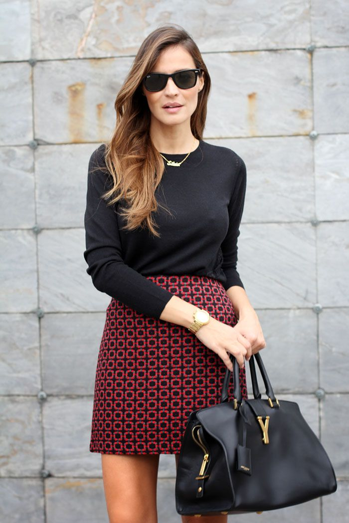 Tweed Mini Skirt paired with a black jersey top, black bag and gold accessories
