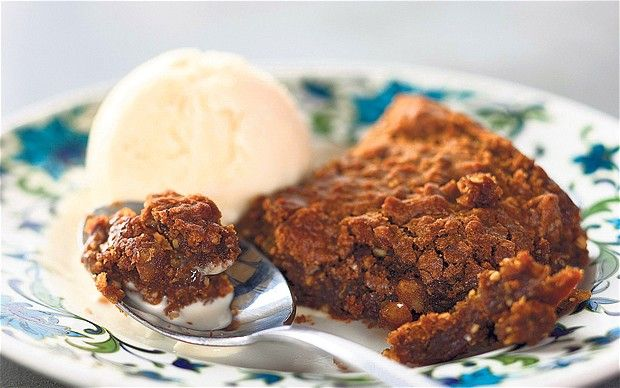 Yorkshire parkin with salty toffee ice cream