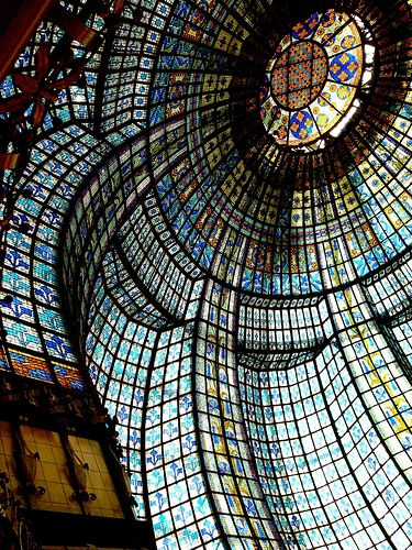 Art Noveau stained glass cupola in the tearoom, Printemps department store, Paris, France.  Photo: Zagreusfm via Flickr