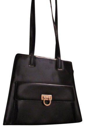 9b9bf275d6 Salvatore Ferragamo Gancini Buckle Style Chic Mod Look Dressy Or Casual Mint  Vintage Satchel in Black