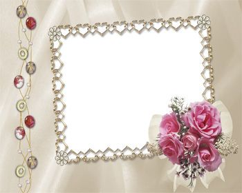 Hearts Border Frame and Rose Bouquet.