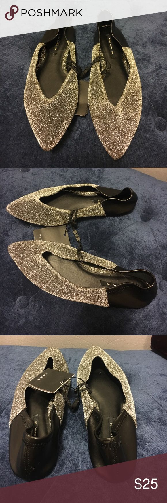*NWT* Zara Contrasting Silver Ballet Flats Flat, silver, babouche style in combination of black and silver. Fold over heel, V shape instep and pointed to. Perfect compliment to any outfit 😍 Zara Shoes Flats & Loafers