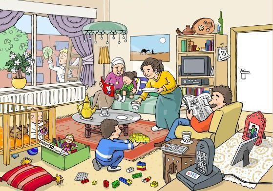 Salon, aile, rutin, kitap, gazete