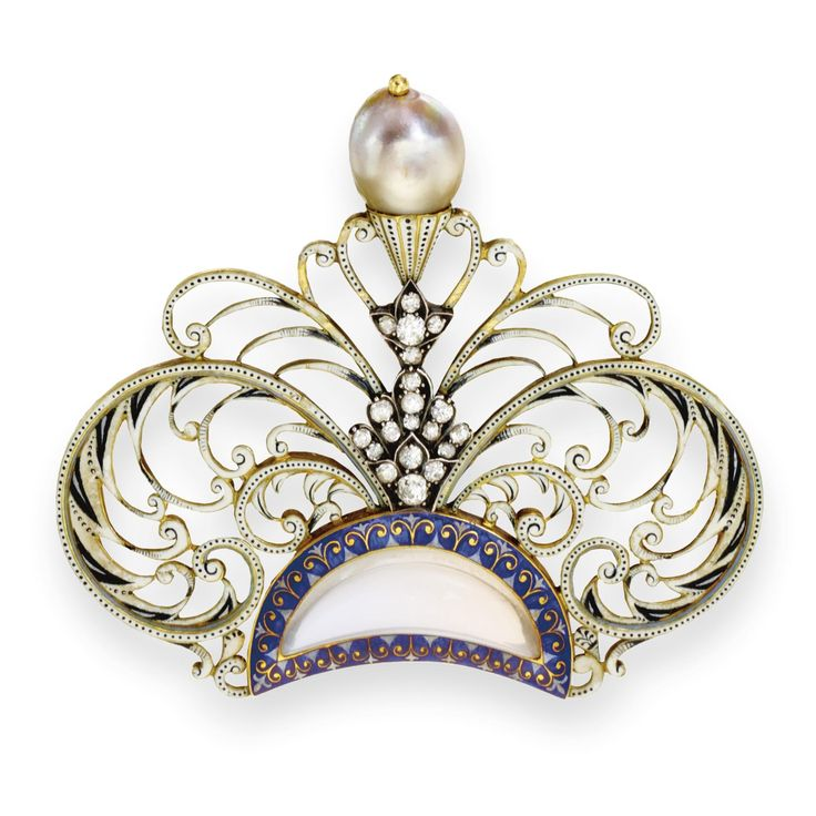 Carlo and Arthur Giuliano | diamond, enamel, moonstone and pearl brooch/hair ornament, ca.1895