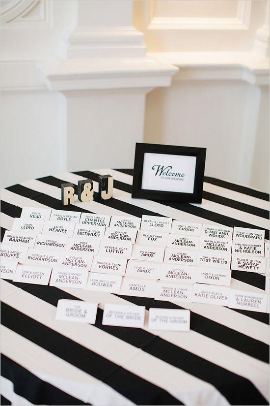 black and white escort card ideas