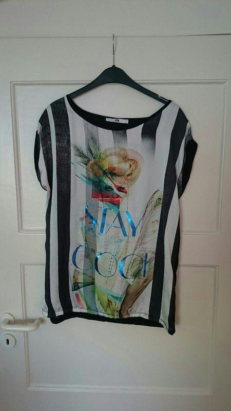 T-Shirt LTB Größe L Shirt Bluse schwarz weiß bunt Oberteil