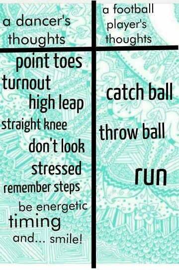 A dancer's mind compared to a football player's mind