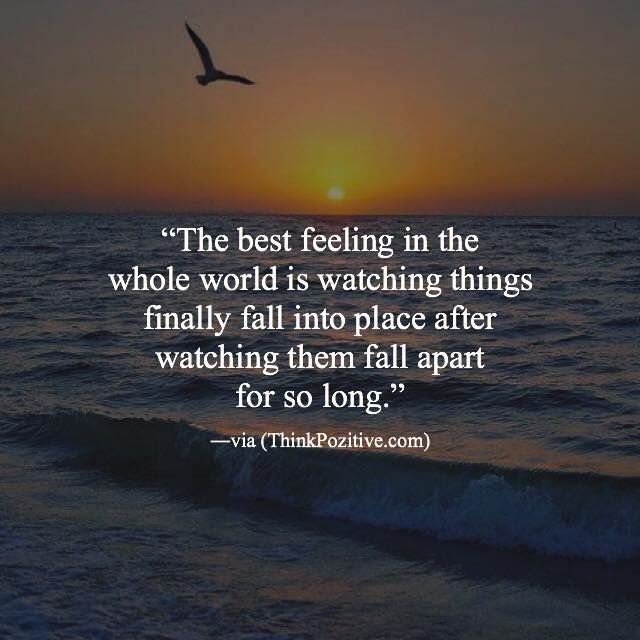 Inspirational Positive Quotes :The best feeling in the whole world is watching things finally fall into place a