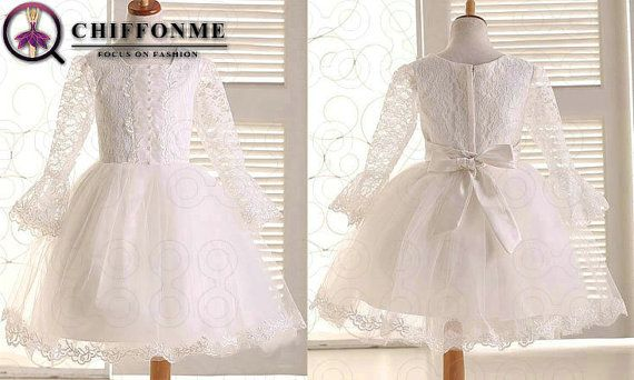 Long sleeves Princess lace flower girl dress fancy little girl dress pageant dress / junior bridesmaid dress wedding performing dress