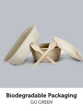 Care about the environment? You can help by using these biodegradable food packaging! #food #packaging #biodegradable #ecofriendly #spoons #containers #trays #disposable #nature #help #buy #online #bizongo #b2b #ecommerce #mumbai