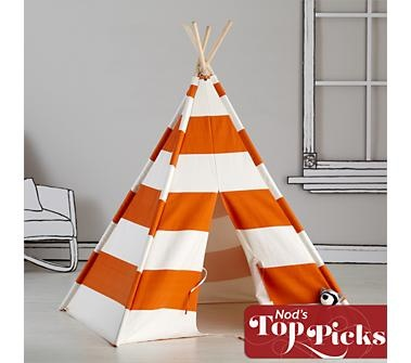 Kids Imaginary: Orange Stripe Play Teepee in from The Land of Nod
