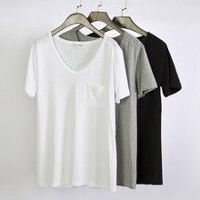 Sexy Fit Slim V-Neck Short Sleeve Women T Shirts With Pocket  Best buy follow this link http://shopingayo.space