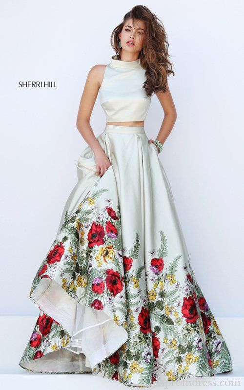 2016 Sherri Hill 50270 Two Piece Floral Print Prom Dress