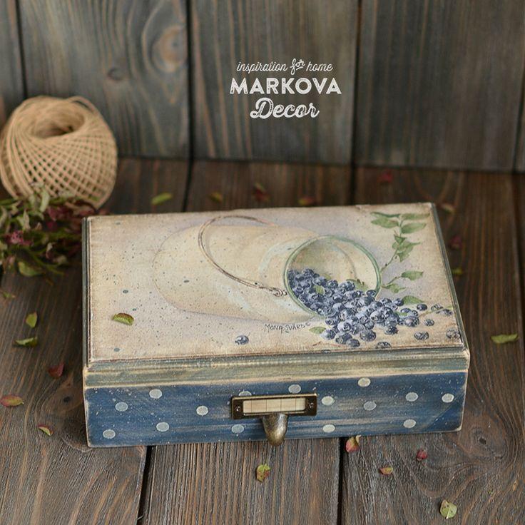 Купить короб Черничные Холмы - стиль кантри, короб для кухни, черника, деревенский стиль